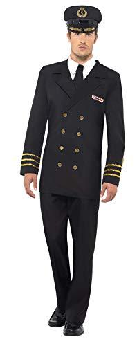 Smiffys, Herren Marineoffizier Kostüm, Jacke, Hose, Mock Hemd und Mütze, Größe: L, - Marine Offizier Uniform Kostüm