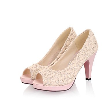 Talons Femme Printemps Eté Automne Autre Tulle Party & Evening Dress Casual Chunky Heel Noir Rose Blanc Beige Beige