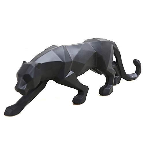 wyhweilong Weiß Black Panther Skulptur Ornamente Skulptur Geometrische Harz Leopard Statue Wildlife Decor Geschenk (Schwarz)