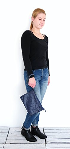 Damen Trend Accessoire Clutch Wristlet Pochette Bag Tasche Cross Over Glitzer Glam (8338) (blau) blau