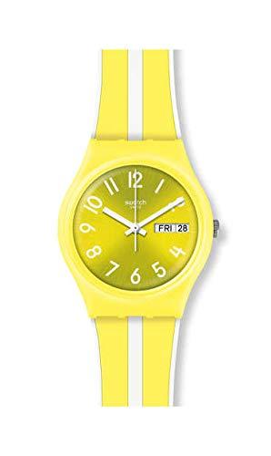Swatch Unisex Erwachsene Analog Quarz Uhr mit Silikon Armband GJ702