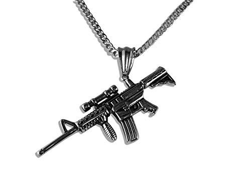 Enez Edelstahl-Halskette (4mm) 55cm + Maschinengewehr Anhänger in Silber 2,8cm X 7,0cm ()