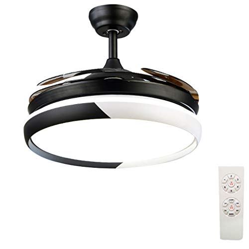 Fan Ceiling Lamp Xinjin Lumière de Ventilateur de Plafond réversible avec télécommande, Lustre à Del dimmable avec Lames Invisibles rétractables, Moteur Silencieux, pour Salon-Restaurant