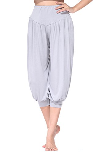 BeautyWill Yogahose/Laufhose/Jogginghose Fitness-Hose Hose in 3/4-Länge für Damen - für Sport und Training aus 95% Modal, XL, Farbe: Hellgrau
