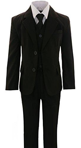 A3722SchS 5-tlg.Kinder festlich Junge Kommunions Hochzeit Anzug Gr.86-152 (Schwarz, 140/146) (Blaues Anzug, Schwarzen Hemd)