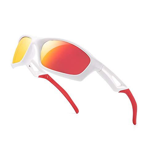 Polarisiert Sport Sonnenbrille Damen Herren Baseball Angeln Laufen Golf Radfahren Fahren Schatten(Weiß Rot/Polarisierter Spiegel Rot)