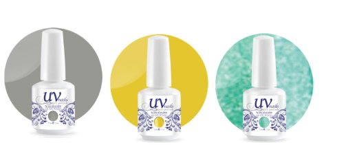 UV-Nails Soak-Off Gel Set Sporty Day (225,206,207) 2 Vernis a Ongles & 1 Vernis Paillettes 15ml + Aviva Polissoir a ongles