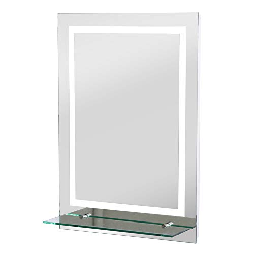kleankin LED Badspiegel Badezimmerspiegel mit Beleuchtung Glas-Ablage 38W 70x50cm