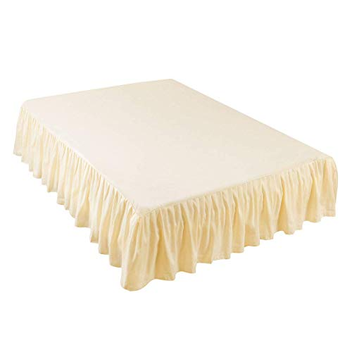 Beige Queen 14 (ZCHXD Bed Skirt Brushed Polyester Pleated Styling, with 14 Inch Drop Beige Queen Size)