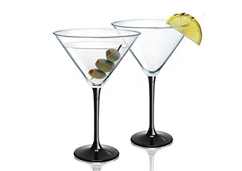 Transparent, Lot de 6 Noir à pied à cocktail Verres à Martini 260 ml Prestige