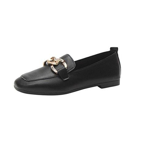 Ba Zha HEI  Damen Metallknopf Pure Farbe Lässige Schuhe Einzelne SchuhFarbe Breathable Tuch Fußschuhe Komfort Weich Schuhe Mode Flache Schuhe (Schwarz, 37) (Pur Schuhe Komfort)