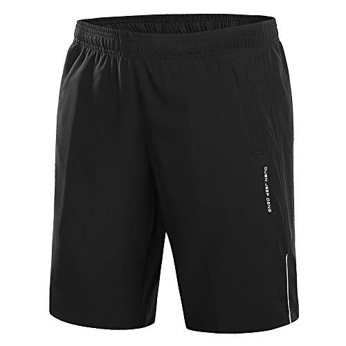 CLOUSPO Sporthose Herren kurz schnelltrockend mit Reißverschlusstasche Sport Shorts(EU S/Tag 2XL, Schwarz)(Verpackung/MEHRWEG) - Sporthose Kurz Herren Größe