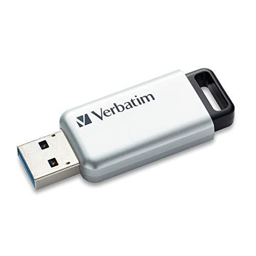 Verbatim Store 'n' Go Secure Pro USB Stick 32 GB, schneller USB Speicher mit USB 3.0, sichere Datenübertragung dank Kennwortschutz, Silber