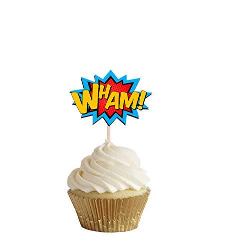 31dGqx YZUL - AK Giftshop Call out Speak - Burbujas de Dibujos Animados de superhéroes para cumpleaños, Eventos, Comida para Fiestas, Cupcakes, Palillos y Decoraciones para Banderas de Alimentos (Pack de 14)