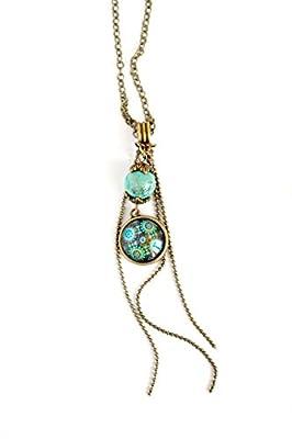 Collier pendentif cabochon 16 mm, inspiration mexique, floral coloré, bleu turquoise
