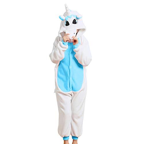 Free Fisher Kinder Jungen/Mädchen Cosplay Kostüm Jumpsuit Overall Schlafanzug Pyjama, Blau Einhorn, Gr. 98/104( Herstellergröße: 100)