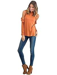 3ba69c7f8e Camisas Hombros Descubiertos Mujer Casual Colores Lisos T Shirt Manga Corta  Sin Tirantes Camiseta Cuello Barco