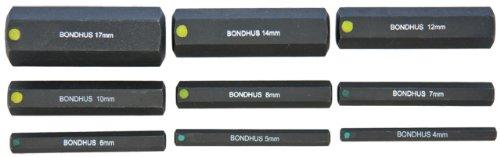 Bondhus 332984-17mm 2Zoll Stecknuss ProHold Bits ohne Sockets, Set 9