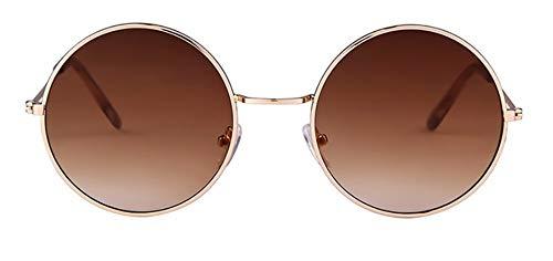 WSKPE Sonnenbrille Frauen Bunte Runde Sonnenbrille Kreis Rosa Linse Klein Sonnenbrille Tönung Schattierungen (Braune Linse)