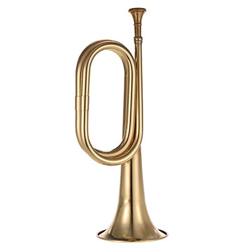 Muslady Trompete B Flach Signalhorn Anruf Messing Kavallerie Horn mit Mundstück für Schulband Kavallerie Militärorchester