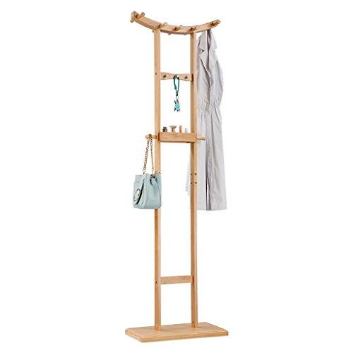 LANGRIA Garderobenständer Bambus Kleiderständer, 18 Kleiderhaken, Halbmondfärmig, 50 x 28 x 173 cm