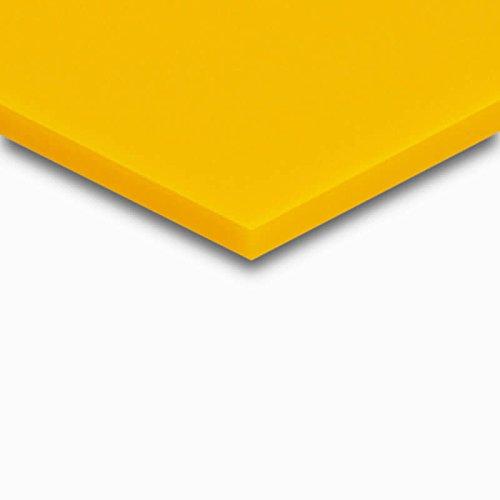 3 mm PLEXIGLAS® gelb GS 1H01 GT, farbiges Acrylglas mit einer Lichtdurchlässigkeit von 22%, zur Dekoration und Präsentation, Maße: 50x25x0,3 cm