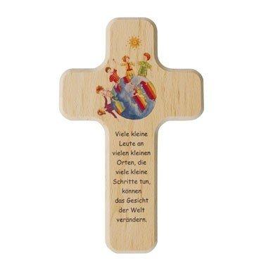 Holzkreuz Kinder-kreuz Viele kleine Leute 18 x 11 cm