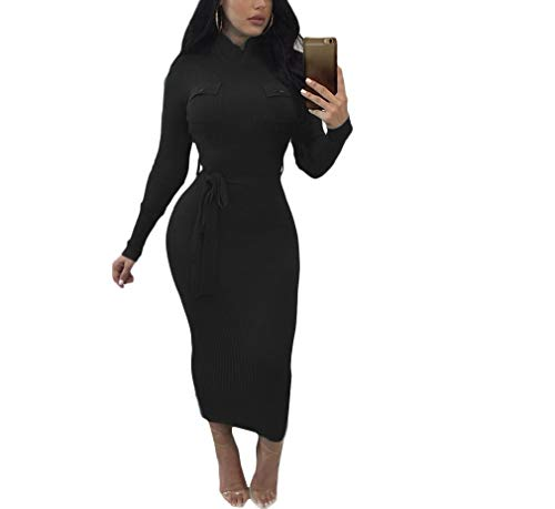 CuteRose Women Bow Tie Belt Long-Sleeve Mock-Neck Midi Body-Con Dresses Black L -