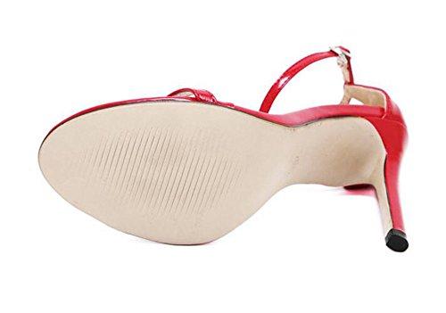 Wealsex Sandales Escarpins Cuir Vernie Boucles Talon Haute Aiguille Cheville Bout Ouvert Chaussure Talon Sexy Ete Femmes Rouge