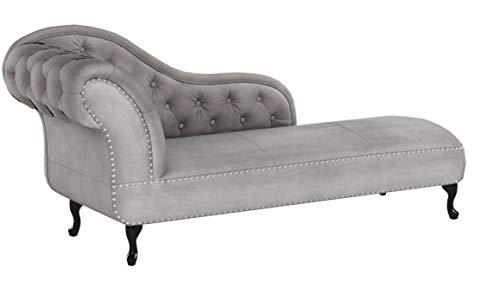 Riess Ambiente Design Chesterfield Récamière in Silbergrau Samt Recamiere Chaiselongue Lounge Sofa Relax Liege Nieten Wohnzimmer