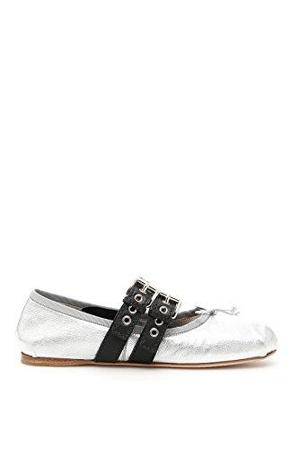 Miu-Miu-Womens-5F466A3K6QF0Q07-SilverBlack-Leather-Flats