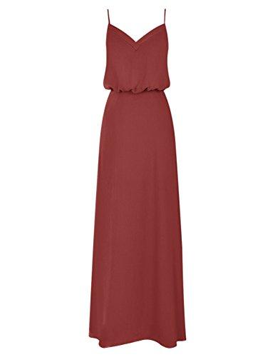 Dresstells Bodenlang Elegant Abendkleider mit Spaghetti-Trägern Burgundy