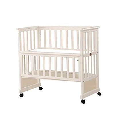 IF.HLMF 0~6 Years Old Baby Crib, Dual Use Baby Changing Table Pine Wood Removable Finishing Station, With Brake Height Adjustable Load 60 Kg (color : White)
