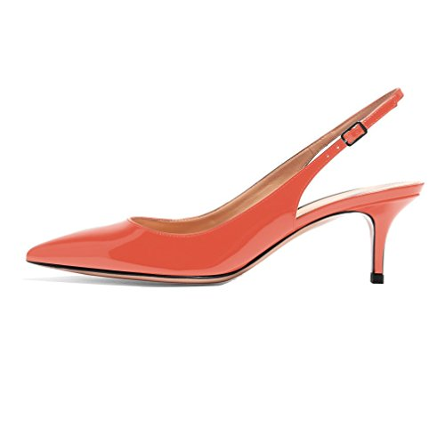 EDEFS Damen Spitz Pumps Kitten Absatz Pointed Toe Slingback Schue 6.5cm Büro Pumps Orange Größe EU38