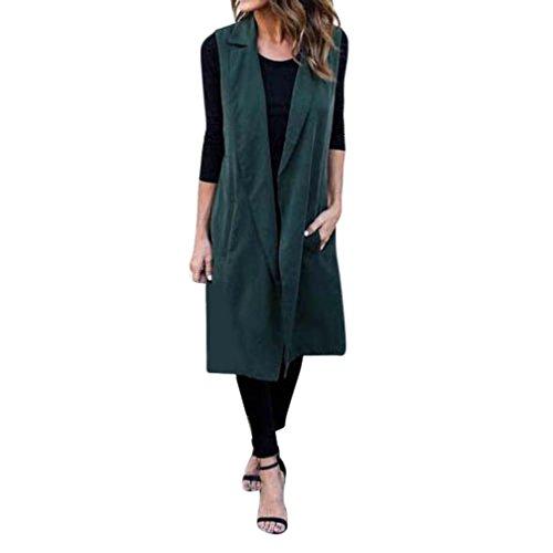 Kolylong® Frauen-dünne Weste-lange Jacke Frau lange Mantel Jacke Windbreaker Frau Strickjacke Grün