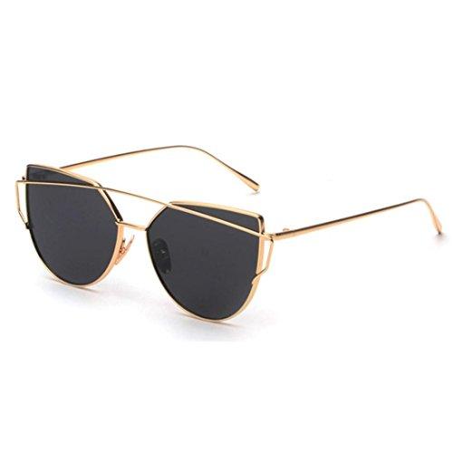 LSAltd Frauen Klassische Gläser Frauen Cat Eye Metallrahmen Spiegel Sonnenbrille Lässige Brille (Gold)