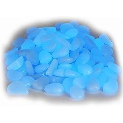 100 pcs guijarro luminoso Piedras decorativas que brillan en la oscuridad azul piedras acuario 1,5-3,0 cm
