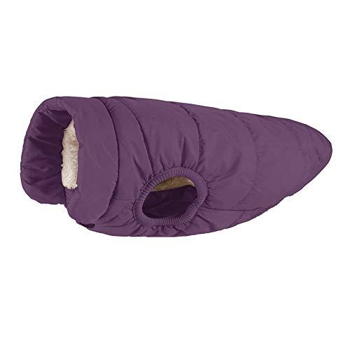 MISSMAO Hundemantel Fleece Futter Jacke Reflektierende Hundejacke Warm Hundemantel Climate Jacke Einfaches An- und Ausziehen Dunkelviolett S