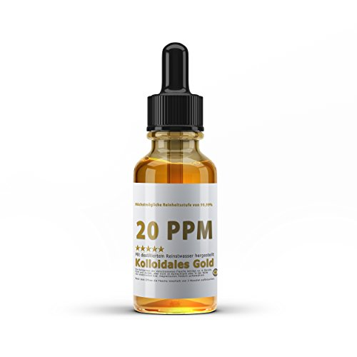 Kolloidales Gold 20PPM - Goldwasser hoch konzentriert (Reinheitsstufe 99,99%) (50ml)