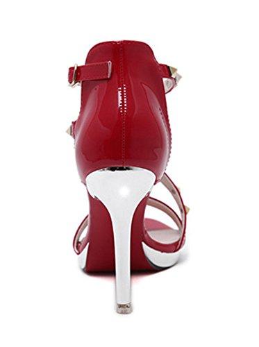 Aisun Damen Sexy Nieten Metall Lack Stiletto Knöchelriemchen Pumps Sandalen Rot
