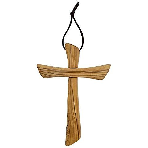 Croix murale en bois d'olivier - fabriquée à Bethléem, 16cm