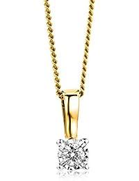 70c28bb5101e Orovi collar de mujer solitario 0.04 Quilates diamantes en oro bicolor 9  kilates ley 375 Cadena
