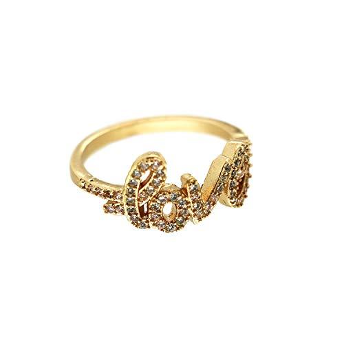 Sweet Deluxe Ring Love, Gold/Crystal I Damen-Ring I Mode-Schmuck Ring für Frauen I Ringe Rings für Mädchen I modisches Design-Accessoires