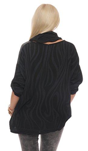 IKONA21 - Fashion Italy Damen Shirt Bluse Hemdbluse Tunika Longshirt Onesize S M L XL 36 38 40 42 44 500 193 Grau Mit Schwarz
