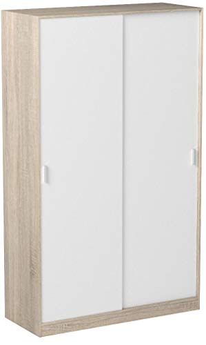 Habitdesign MAX120F - Armario Dos Puertas correderas, Armario ropero Tres estantes, Medidas:...