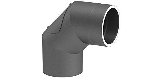 doppelwandiges Ofenrohr Winkelelement 90° ohne Tür, Ø 150mm Durchmesser; mit Steckverbindungen; gussgrau lackiert