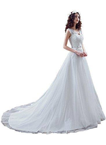 ivyd ressing Femme Roman Table traîne Pointe & tuell robe de mariée de mariée Vêtements Ecru