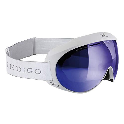 Indigo Voggle Mirror Blau   Asian Fit   Weiß   Ski & Snowboard Brille   Hochwertige Qualität