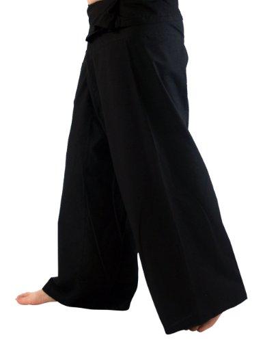 Thai-Baumwoll-Fischerhose, Yoga Hose schwarz / Fischerhosen bis 175 cm Größe