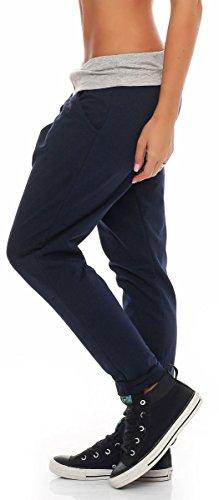 malito Damen Jogginghose in Wickel Optik | Sporthose in Unifarben | Baggy zum Tanzen | Sweatpants �?Trainingshose 3318 Dunkelblau